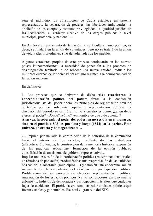 será el individuo. La constitución de Cádiz establece un sistema representativo, la separación de poderes, las libertades ...