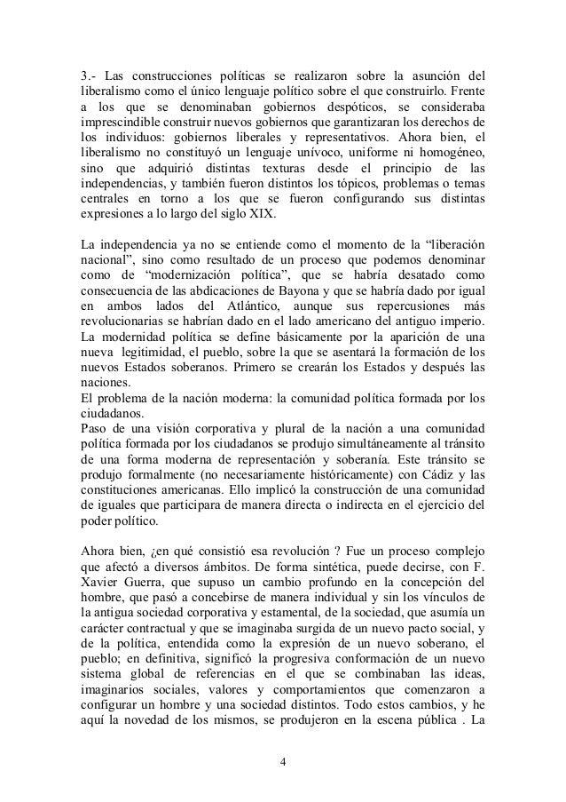 3.- Las construcciones políticas se realizaron sobre la asunción del liberalismo como el único lenguaje político sobre el ...