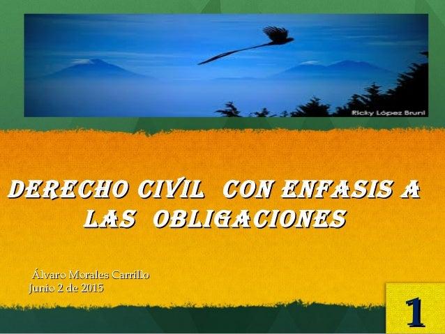 DERECHO Civil CON ENFASiS ADERECHO Civil CON ENFASiS A lAS ObligACiONESlAS ObligACiONES Álvaro Morales CarrilloÁlvaro Mora...