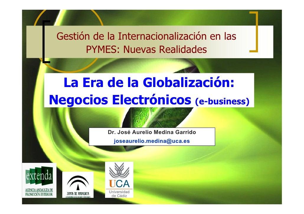 Gestión de la Internacionalización en las       PYMES: Nuevas Realidades  La Era de la Globalización:Negocios Electrónicos...