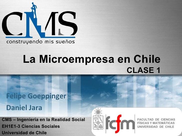 La Microempresa en Chile                                          CLASE 1    Felipe Goeppinger  Daniel Jara CMS – Ingenier...