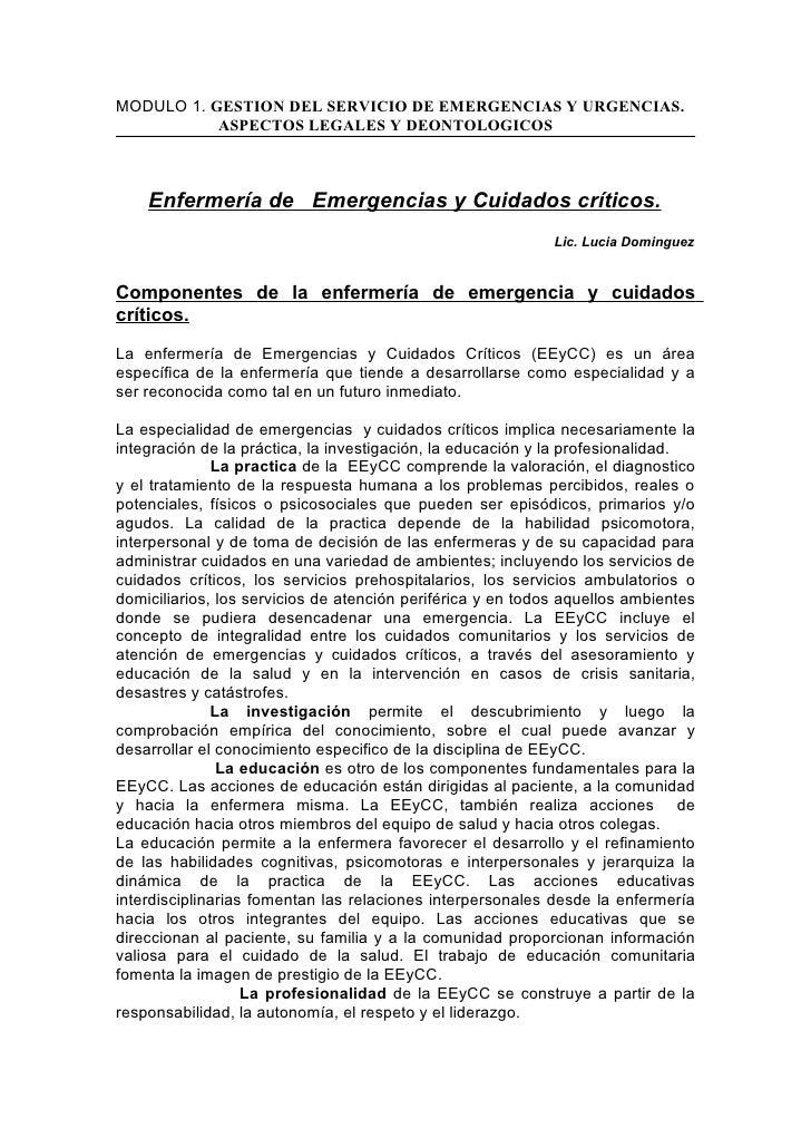 MODULO 1. GESTION DEL SERVICIO DE EMERGENCIAS Y URGENCIAS.            ASPECTOS LEGALES Y DEONTOLOGICOS        Enfermería d...