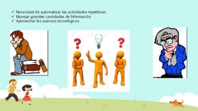  Necesidad de automatizar las actividades repetitivas  Manejar grandes cantidades de Información  Aprovechar los avance...