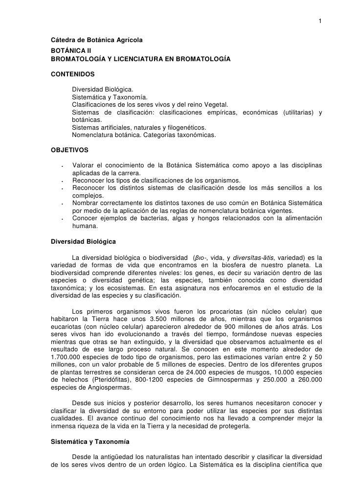 1  Cátedra de Botánica Agrícola BOTÁNICA II BROMATOLOGÍA Y LICENCIATURA EN BROMATOLOGÍA  CONTENIDOS         Diversidad Bio...