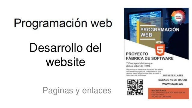 Desarrollo del website Paginas y enlaces