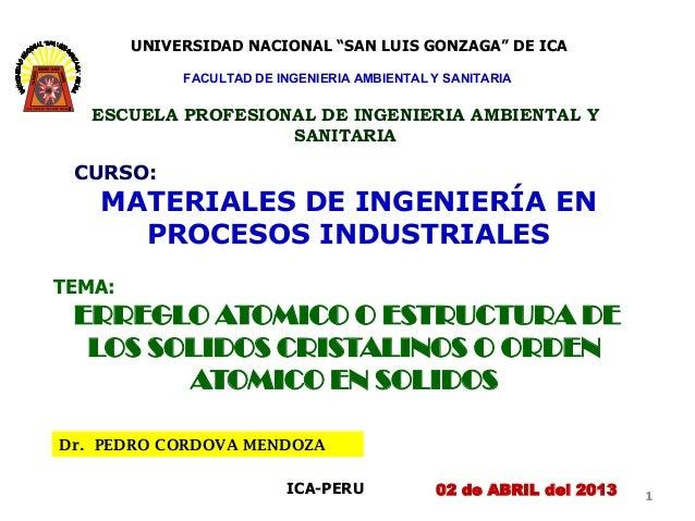 """UNIVERSIDAD NACIONAL """"SAN LUIS GONZAGA"""" DE ICA                FACULTAD DE INGENIERIA AMBIENTAL Y SANITARIA      ESCUELA PR..."""