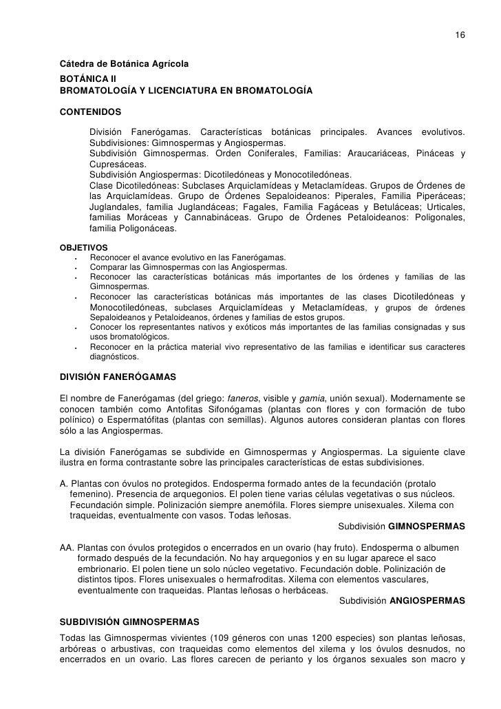16   Cátedra de Botánica Agrícola BOTÁNICA II BROMATOLOGÍA Y LICENCIATURA EN BROMATOLOGÍA  CONTENIDOS         División Fan...