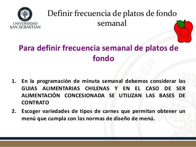 Definir frecuencia de platos de fondo semanal  Para definir frecuencia semanal de platos de fondo  1.En la programación de...