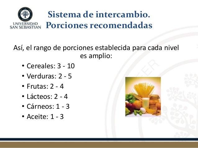 Así, el rango de porciones establecida para cada nivel es amplio:  •Cereales: 3 - 10  •Verduras: 2 - 5  •Frutas: 2 - 4  •L...