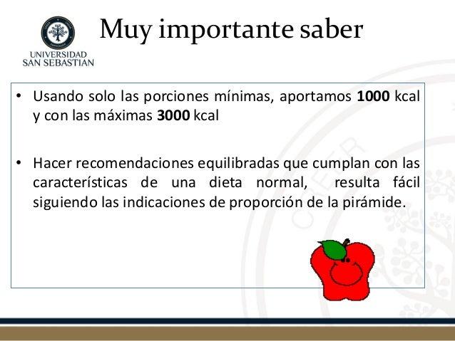 Muy importante saber  •Usando solo las porciones mínimas, aportamos 1000 kcal y con las máximas 3000 kcal  •Hacer recomend...