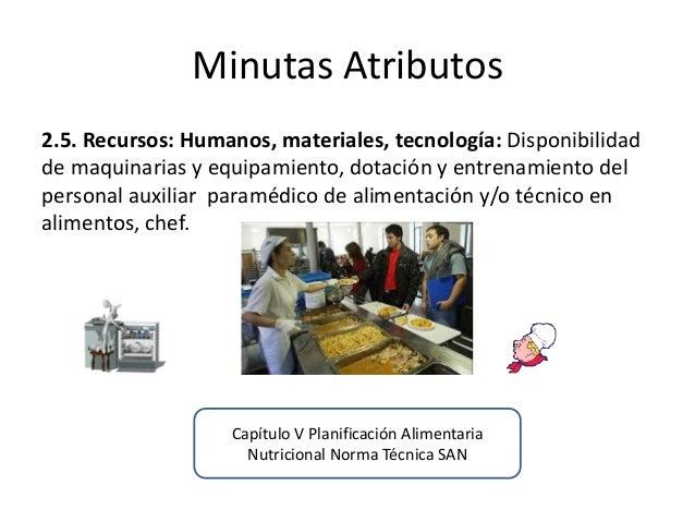 Minutas Atributos  2.5. Recursos: Humanos, materiales, tecnología: Disponibilidad de maquinarias y equipamiento, dotación ...