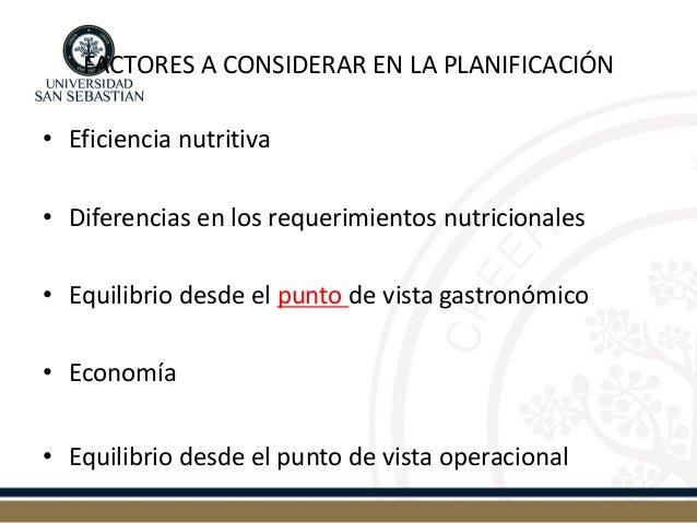 FACTORES A CONSIDERAR EN LA PLANIFICACIÓN  •Eficiencia nutritiva  •Diferencias en los requerimientos nutricionales  •Equil...