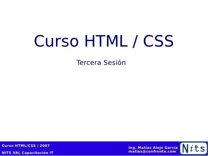 Curso HTML / CSS Tercera Sesión