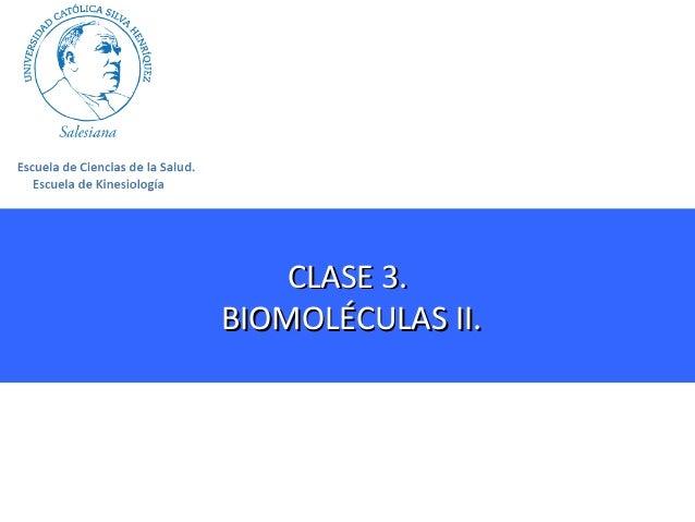 CLASE 3. BIOMOLÉCULAS II.