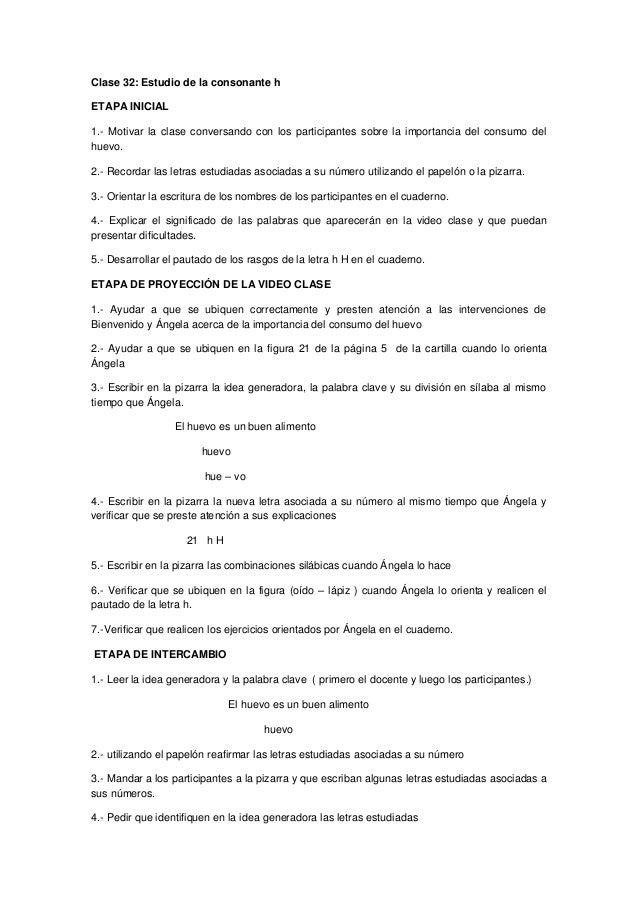 Clase 32: Estudio de la consonante h ETAPA INICIAL 1.- Motivar la clase conversando con los participantes sobre la importa...