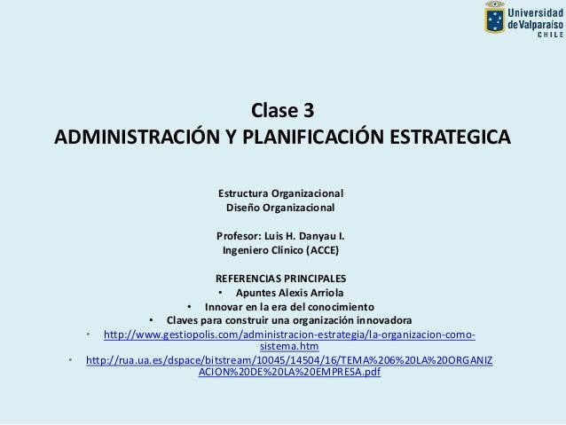 Clase 3 ADMINISTRACIÓN Y PLANIFICACIÓN ESTRATEGICA Estructura Organizacional Diseño Organizacional Profesor: Luis H. Danya...