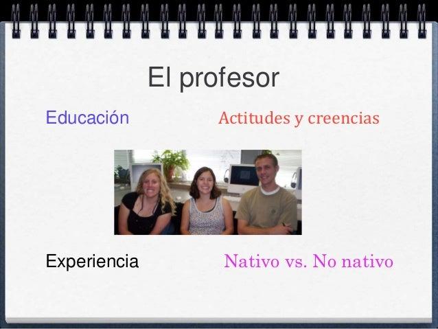 El profesor  Educación Actitudes y creencias  Experiencia Nativo vs. No nativo