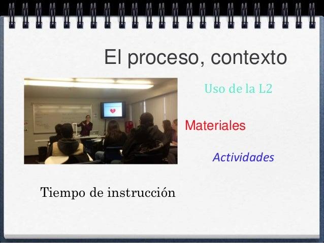 El proceso, contexto  Uso de la L2  Materiales  Actividades  Tiempo de instrucción