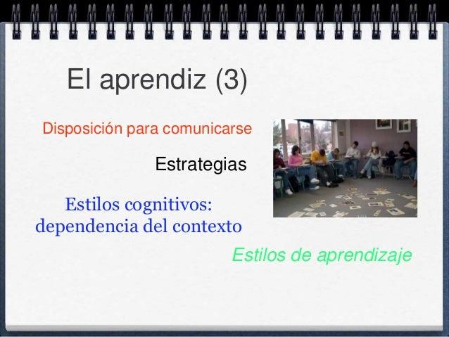 El aprendiz (3)  Disposición para comunicarse  Estrategias  Estilos de aprendizaje  Estilos cognitivos:  dependencia del c...