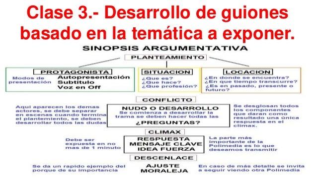 Clase 3.- Desarrollo de guiones basado en la temática a exponer.