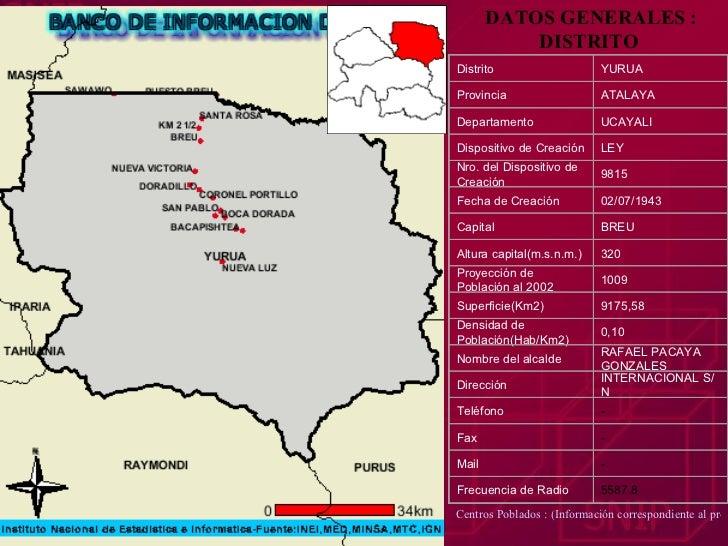 DATOS GENERALES : DISTRITO   Centros Poblados : (Información correspondiente al pre-censo 1999) Distrito YURUA Provincia A...