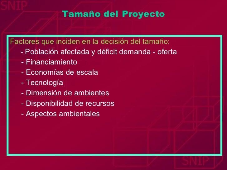 <ul><li>Factores que inciden en la decisión del tamaño: </li></ul><ul><li>- Población afectada y déficit demanda - oferta ...