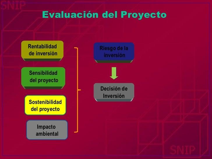 Rentabilidad de inversión Sensibilidad del proyecto Sostenibilidad del proyecto Impacto  ambiental Riesgo de la inversión ...