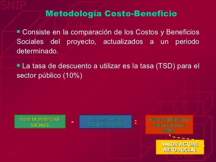 Metodología Costo-Beneficio <ul><li>Consiste en la comparación de los Costos y Beneficios Sociales del proyecto, actualiza...