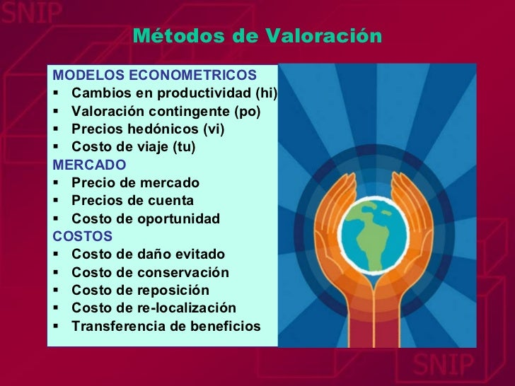Métodos de Valoración <ul><li>MODELOS ECONOMETRICOS </li></ul><ul><li>Cambios en productividad (hi) </li></ul><ul><li>Valo...