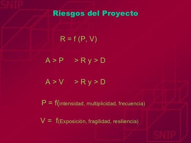 Riesgos del Proyecto R = f (P, V) A > P  > R y > D A > V  > R y > D P = f( intensidad, multiplicidad, frecuencia) V =  f (...