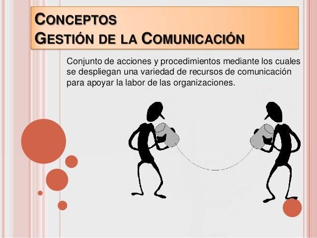 CONCEPTOSGESTIÓN DE LA COMUNICACIÓN    Conjunto de acciones y procedimientos mediante los cuales    se despliegan una vari...