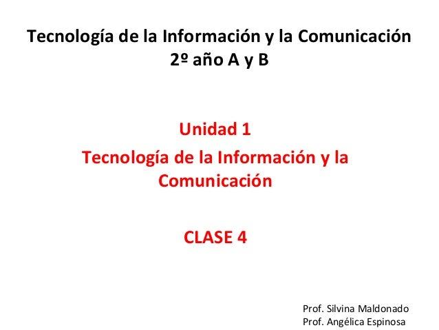 Tecnología de la Información y la Comunicación 2º año A y B Unidad 1 Tecnología de la Información y la Comunicación CLASE ...