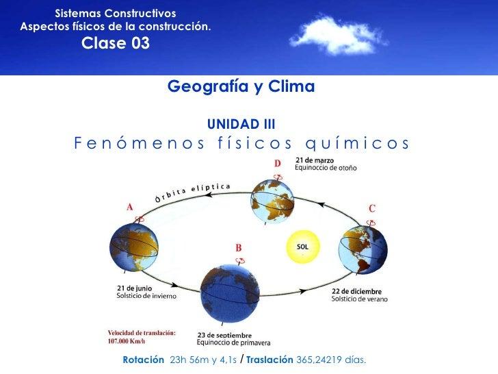 Sistemas Constructivos Aspectos físicos de la construcción. Clase 03 Geografía y Clima UNIDAD III F e n ó m e n o s  f í s...