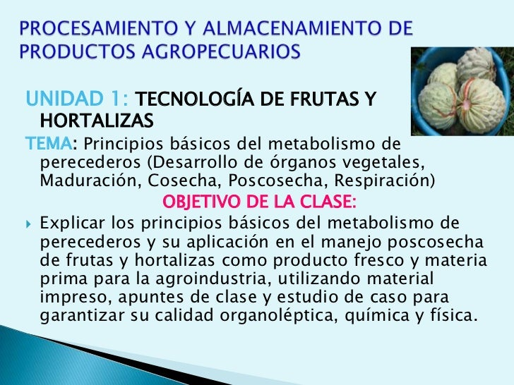 PROCESAMIENTO Y ALMACENAMIENTO DE PRODUCTOS AGROPECUARIOS<br />UNIDAD 1: TECNOLOGÍA DE FRUTAS Y HORTALIZAS<br />TEMA:Princ...