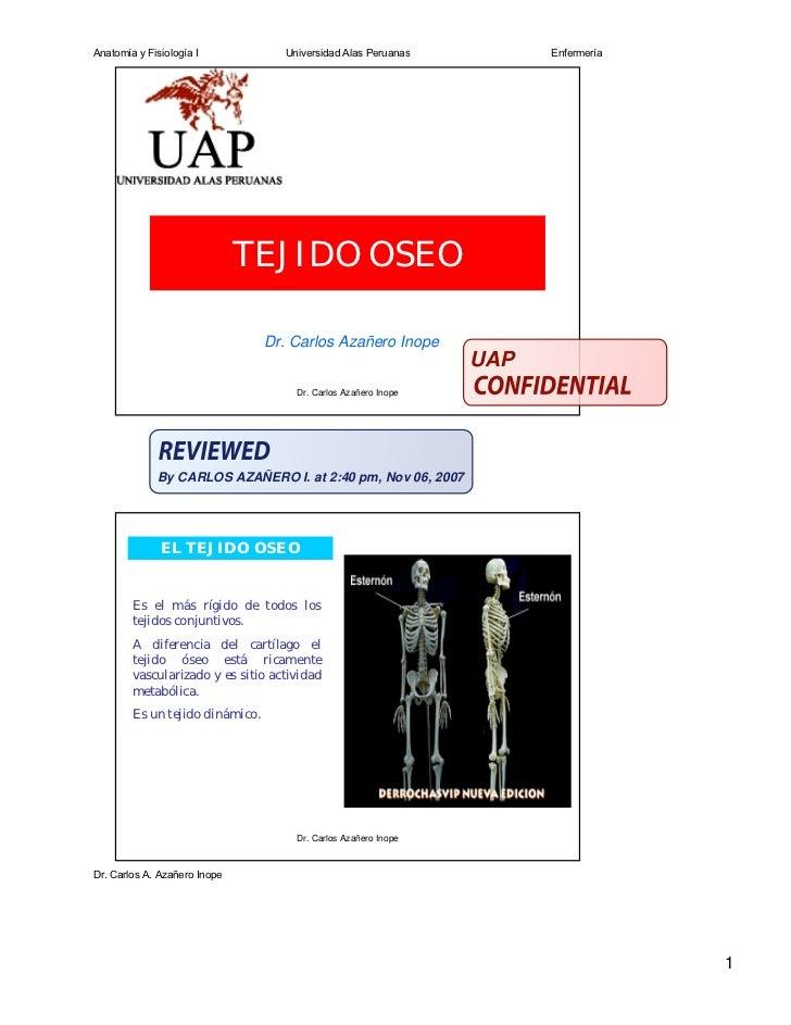 Anatomía y Fisiología I            Universidad Alas Peruanas          Enfermería                              TEJIDO OSEO ...