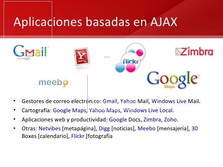 Aplicaciones basadas en AJAX•   Gestores de correo electrónico: Gmail, Yahoo Mail, Windows Live Mail.•   Cartografía: Goog...