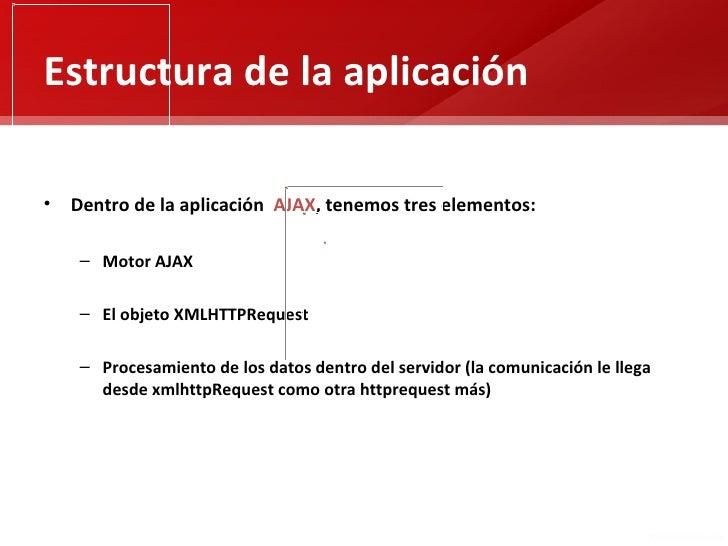Estructura de la aplicación• Dentro de la aplicación AJAX, tenemos tres elementos:    – Motor AJAX    – El objeto XMLHTTPR...