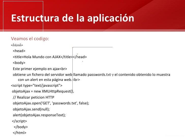 Estructura de la aplicaciónVeamos el codigo:<html> <head> <title>Hola Mundo con AJAX</title></head> <body> Este primer eje...