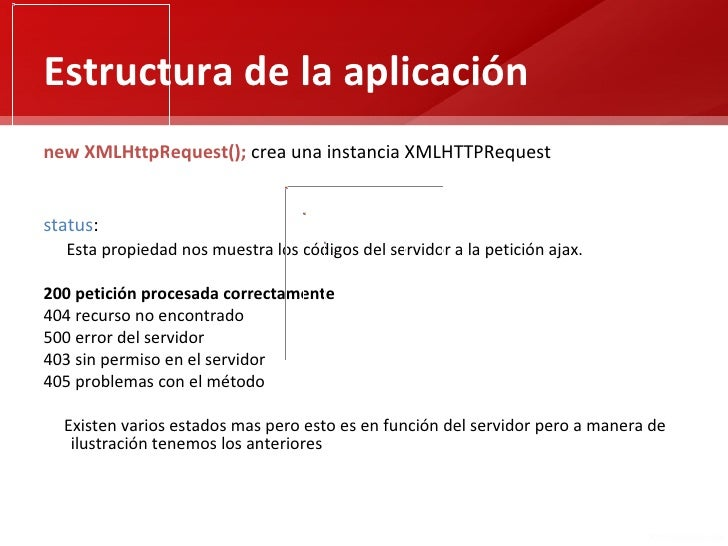 Estructura de la aplicaciónnew XMLHttpRequest(); crea una instancia XMLHTTPRequeststatus:  Esta propiedad nos muestra los ...