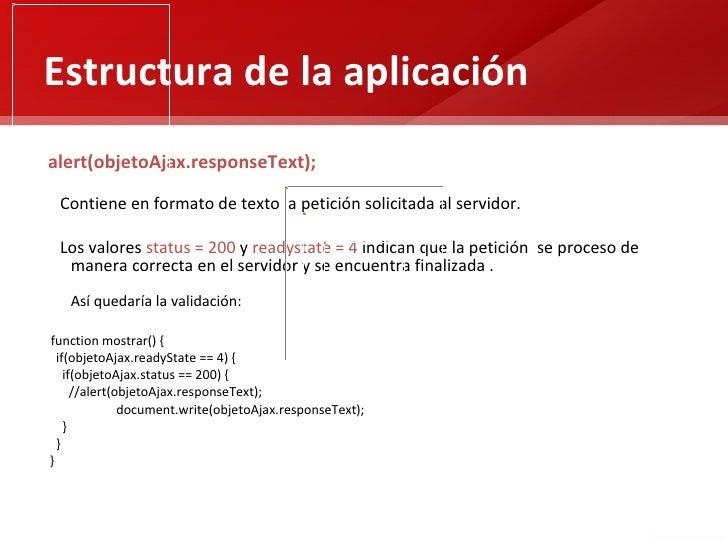 Estructura de la aplicaciónalert(objetoAjax.responseText); Contiene en formato de texto la petición solicitada al servidor...