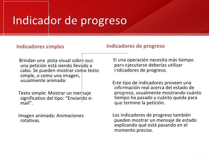 Indicador de progresoIndicadores simples                      Indicadores de progreso Brindan una pista visual sobre que  ...