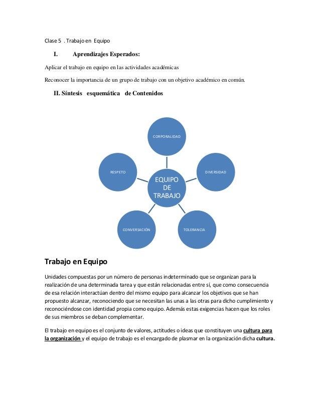 Clase 5 . Trabajo en EquipoI. Aprendizajes Esperados:Aplicar el trabajo en equipo en las actividades académicasReconocer l...