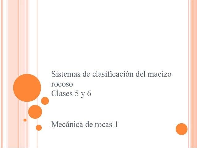 Sistemas de clasificación del macizo rocoso Clases 5 y 6 Mecánica de rocas 1