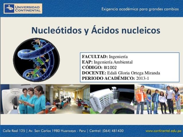 Nucleótidos y Ácidos nucleicosFACULTAD: IngenieríaEAP: Ingeniería AmbientalCÓDIGO: BI1002DOCENTE: Edali Gloria Ortega Mira...