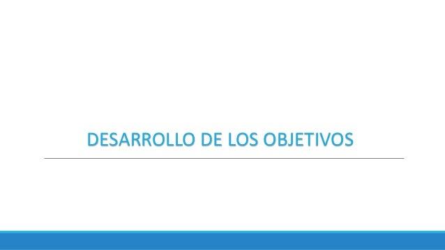 DESARROLLO DE LOS OBJETIVOS