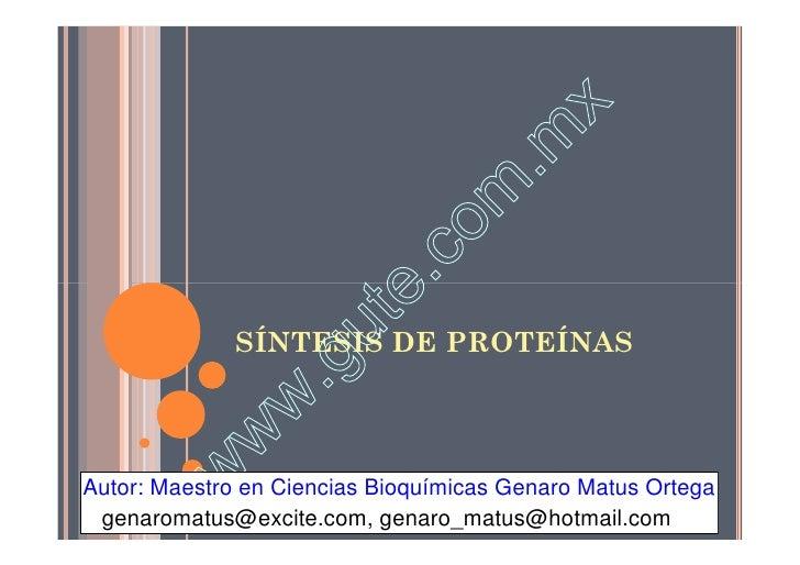 Clase 6 La Síntesis Proteica