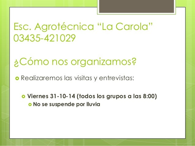 """Esc. Agrotécnica """"La Carola""""  03435-421029  ¿Cómo nos organizamos?   Realizaremos las visitas y entrevistas:   Viernes 3..."""