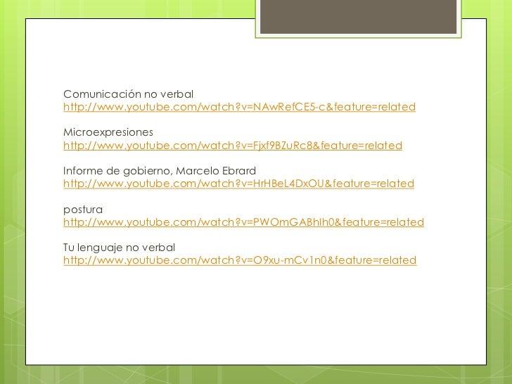 Comunicación no verbalhttp://www.youtube.com/watch?v=NAwRefCE5-c&feature=relatedMicroexpresioneshttp://www.youtube.com/wat...