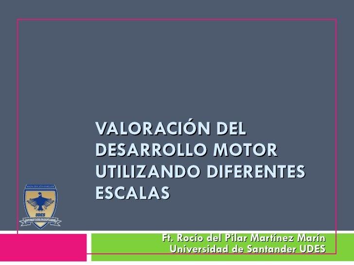 VALORACIÓN DEL DESARROLLO MOTOR UTILIZANDO DIFERENTES ESCALAS  Ft. Rocío del Pilar Martínez Marín Universidad de Santander...