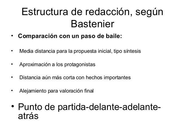 Estructura de redacción, según               Bastenier• Comparación con un paso de baile:•   Media distancia para la propu...